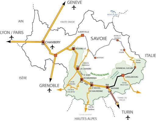 Plan accès haute Maurienne